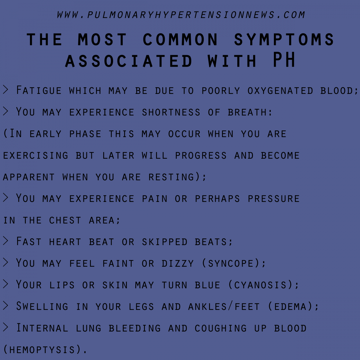 The Most Common Symptoms Associated With Pulmonary Hypertension